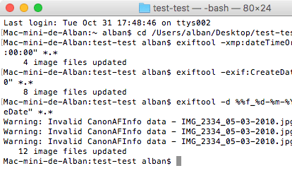Capture d'écran du Terminal sous Mac OS X