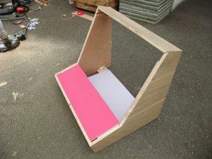 Photo du bartop assemblé avec découpes des angles pour meilleur rendu visuel