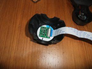 Photo du module caméra inséré dans le carton lui même fixé dans la caméra IP