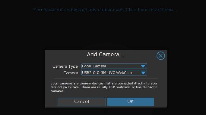 Capture d'écran de l'ajout d'une caméra