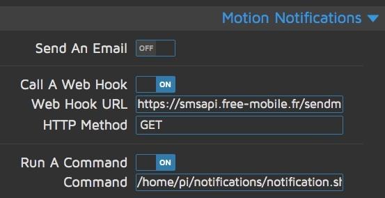 """Capture d'écran avec la ligne """"WebHook renseignée"""